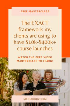 Learn the exact framework for the only 3 things you need to do in your course to launch successfully. Plus, walkthrough my actual launch calendar so you know what to do when - free masterclass! #onlinecoursetips #digitalmarketing #mariahcoz