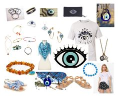 fashion to ward of the Evil Eye #evileye by saffron-rose on Polyvore featuring polyvore, fashion, style, Evil Twin, Ancient Greek Sandals, Studio dks by Deborah Shavlik, Juicy Couture, Sterling Essentials, Moise, Bloomingdale's, Halcyon Days, Allurez, Betsey Johnson, Icz Stonez, Eternally Haute, Otrera, Kenzo, C. Wonder and evileye