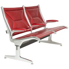 Original Eames Tandem Sling Airport Chair by Herman Miller, Reimagined Two-Seat | See more antique and modern Benches at https://www.1stdibs.com/furniture/seating/benches