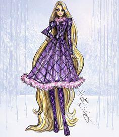 #Hayden Williams Fashion Illustrations #Disney Divas 'Holiday' collection by Hayden Williams: Rapunzel