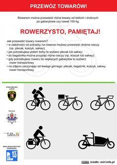 Przewóz towarów rowerem! / Transport of goods by bicycle! #rower #edukacja #ulotka #infografika #bike #education #leaflet #infographic Transport, Education, Words, Onderwijs, Learning, Horse