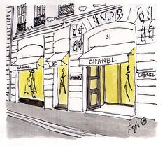 Fifi Flowers Painting du Jour Gallery: Chanel 31 Rue Cambon Shop in Paris