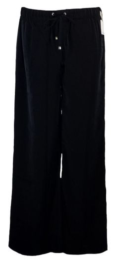 NEW Calvin Klein Womens Pants Wide Leg Fluid Crepe Drawstring Black Sz 8 $79.50 #CalvinKlein #CasualPants