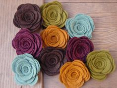 Wool Felt Flowers - Large Posies - Soft Autumn Hues Collection