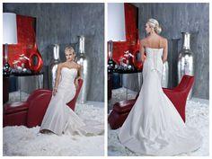 Satin Sweetheart Applique Beading Chapel Train Mermaid Wedding Dress