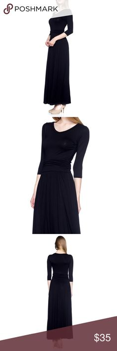 🚨JUST IN🚨✨Black Long Dress✨ ✨Black Long Dress✨🍂🍁Fall Edition 🍂🍁 💃🏼 Long Dress 👗 3/4th Sleeve 💖Cute  Ships 1-2 business day, I AM A FAST SHIPPER 🛫 YES, these are the real pictures of the item 💁🏻 Sizes available in REGULAR  BRAND NEW merchandise only  MADE IN USA! 🇺🇸 Add it to bundle to save more 💸💰 Dresses Long Sleeve