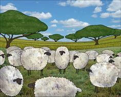 greener pasture - 8X10 inch art print by Sarah Knight, sheep farm | SunshineSight - Print on ArtFire