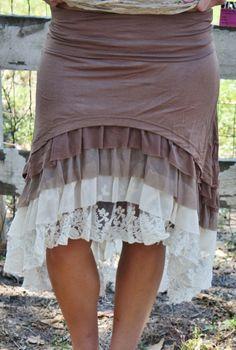 Colorado Cowgirl Mocha Layered Skirt