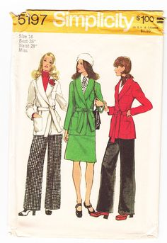 Vintage 1972 Simplicity 5197 UNCUT Sewing Pattern Misses' Front-Wrap Jacket, Skirt and Pants Size 14 Bust 36 by SewUniqueClassique on Etsy https://www.etsy.com/listing/128661735/vintage-1972-simplicity-5197-uncut