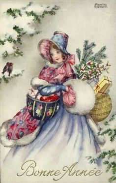 Lady in a pretty bonnet, fur lined coat, and a fur muff delivering gifts.  Bonne Annee or Happy New Year.  Vintage New Year Card.   suzilove.com