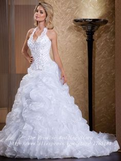 awesome Free Shipping Sexy Backless Puffy Plus Size Wedding Gown 2015  Romantic White Halter A- · Organza BridalWedding Dress ... 549485d08cae