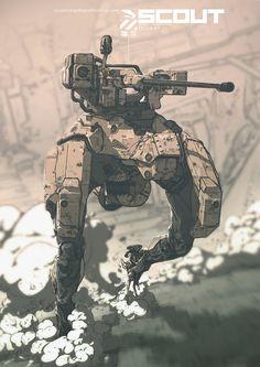 SCOUT All Weather Armored Landmate – by Nivanh Chanthara View Original Source Here Science Fiction, Millenium, Armadura Medieval, Mekka, Robot Concept Art, Robot Design, 3d Design, Ex Machina, Cyberpunk Art