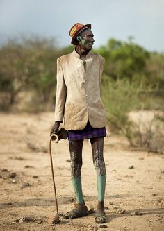 Dressed for the Bull Jumping ceremony - Hamer old man - Ethiopia by Eric Lafforgue #erice #sicilia #sicily