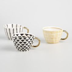Geo Mugs with Gold Handles Set of 3 - v1