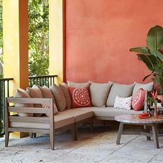 Jardine Sectional #WestElm  what a lovely comfy seating corner this is for the outdoors.  EdithSellsHomes@gmail.com
