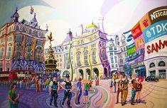 PICCADILLY CIRCUS (LONDRES). Oleo sobre lienzo. 146 x 97 x 3,5 cm.