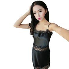 Vestido de Noche las mujeres ropa de Dormir de Encaje Sexy Tirantes de Satén ropa de Noche Atractiva de Seda Camisones Mujer Ahueca Hacia Fuera la ropa de Dormir