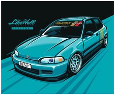 Mercedes Benz 300, Civic Jdm, Jdm Stickers, Austin Cars, Honda Civic Hatchback, Honda Cars, Car Illustration, Car Drawings, Japanese Cars