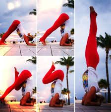 Great visual for Traditional Headstand. Start in Dolphin pose, tip toe forward and bring your hips over shoulders. Brace hands around head with crown on the floor. Slowly raise one toe & then the other. When steady straighten to full head stand. Voila!