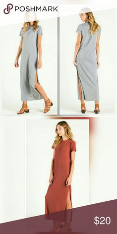 Rust High Slit Ribbed Dress Round neck ribbed dress with short sleeves. Color available is Rust. Item runs big so I would suggest down sizing depending on how you want it to fit. Exquisite Styles Dresses
