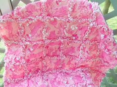 Pink Lounging Lions Lilly Pulitzer Baby Rag Quilt by dmaeredesigns, $139.00
