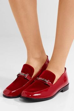 NewbarK - Melanie Velvet-paneled Patent-leather Loafers - Red - US