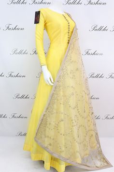Palkhi fashion exclusive light yellow soft silk outfit with handcrafted stone work on top.This outfit comes with beige attractive gota work duppata Indian Fashion Dresses, Indian Gowns Dresses, Dress Indian Style, Indian Designer Outfits, Pakistani Dresses, Indian Outfits, Long Dresses, Long Gowns, Pakistani Suits
