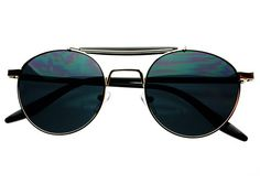 Stylish Crossbar Retro Vintage Metal Round Sunglasses Silver R1452