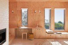 Plywood walls, cabinetry, steps and ceiling.  Claire Cousins.
