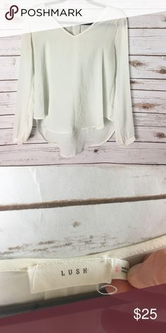 Lush cream colored long sleeve blouse.  Sz small. Lush cream colored long sleeve blouse.  Sz small. Lush Tops Blouses