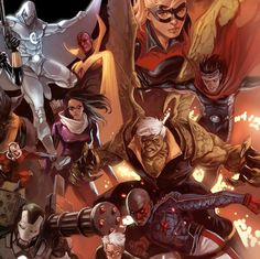 Avengers Heroic Age #5: Secret Avengers by Marko Djurdjevic.    Moon Knight, Beast, the new Ant Man, War Machine, Stature, Vision, Wicca, Hulkling, Patriot, Hawkeye, and Speed.