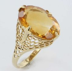 Vintage Estate Citrine 14 Karat Yellow Gold Filigree Cocktail Ring from sartoribrosjewelry on Ruby Lane