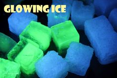 Black Light party with glowing ice:  Made with glow water (yellow ice) and tonic water (blue ice) under a black light
