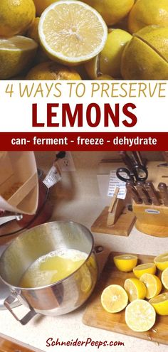 Every year our Meyer lemon tree gives us loads of lemons. We enjoy the lemons fresh while they are in season and preserve the extra to enjoy all year long. You don't have to have a lemon tree to preserve lemons, when they are in season and the price drops is also a good time. Learn how to can, freeze, dehydrate, and ferment lemons in this easy step by step guide. #PreservingFood #SimpleLiving #FromScratch Healthy Meals To Cook, Healthy Dinner Recipes, Real Food Recipes, Easy Meals, Healthy Eating, Preserved Lemons, Grow Your Own Food, Preserving Food, Step Guide