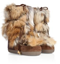 DSquared Suede Snow Boots with Fox Fur on shopstyle.com