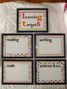 Welcome to First Grade Room DIY: Learning Target Frames Learning Goals Display, Learning Target Display, School Classroom, School Fun, Classroom Ideas, School Stuff, School Ideas, Classroom Objectives, Daily Objectives