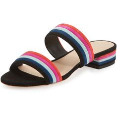 Loeffler Randall Rubie Striped Suede Slide Sandal ($350) ❤ liked on Polyvore featuring shoes, sandals, black pattern, black open toe sandals, black open toe shoes, loeffler randall shoes, striped shoes and block heel sandals