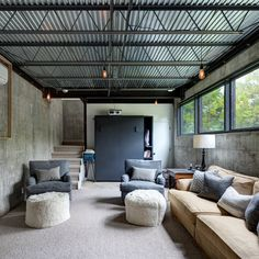 White And Grey Basement Family Room Design Ideas, Pictures, Remodel and Decor
