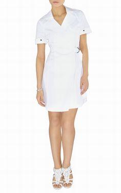 Karen Millen sun dress uk-Karen Millen DL113 White Cotton Shirt Dress :