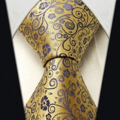 :) Neckties By Scott Allan, 100% Woven Goldenrod Yellow and Purple Floral Ties, Floral Neckties