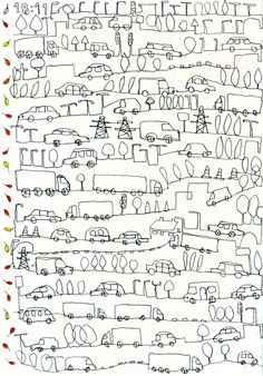 Debbie Greenaway Duncan - Drawn in an A5 sketchbook while traveling down the M6 in July 2009 in my friend's little old red mini - 'Betsy'. That was definitely a mini pencil adventure.