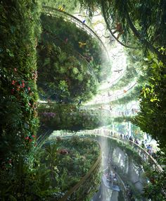 MOZSES - Art direction in architecture - Visual communication - digital visualization Green Architecture, Futuristic Architecture, Beautiful Architecture, Landscape Architecture, Beautiful Landscapes, Beautiful Gardens, Chinese Architecture, Classical Architecture, Ancient Architecture
