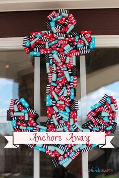 Anchors Away, Nautical Ribbon Anchor Wreath Wreath Crafts, Diy Wreath, Door Wreaths, Ribbon Wreaths, Ribbon Crafts, Cute Crafts, Diy And Crafts, Arts And Crafts, Nautical Nursery