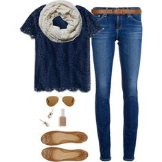 """Tory basic"" by northern-prep on Polyvore - navy lace shirt, jeans, scarf, and tory burch flats"