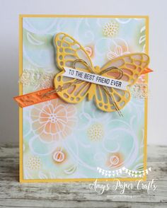irresistibly-sponged - SU - Butterflies Thinlits dies and Bold Butterfly Framelits dies - Pool Party, Pear Pizzazz, Peekaboo Peach, Tangerine Tango, and Daffodil Delight inks to roughly color the images.