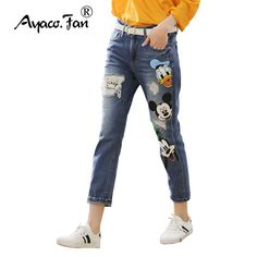 0a420d958a2 Plus Size 4XL 5XL 2018 Loose Jeans Women Casual Denim Ankle-Length  Boyfriend Pants Women