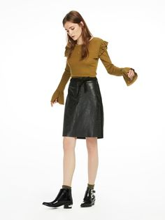 Suede Buff Leather Skirt