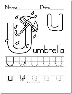 Alphabet Letter U Umbrella Preschool Lesson Plan Printable Activities and Worksheets Preschool Letters, Preschool Projects, Preschool Education, Preschool Printables, Preschool Lessons, Alphabet Activities, Kindergarten Worksheets, Preschool Kindergarten, Preschool Learning
