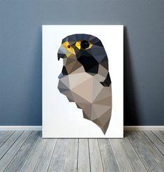 Bird of prey print Wall art Falcon poster Geometric decor Bird Poster, Geometric Decor, Birds Of Prey, Home Art, Wall Art Prints, Creatures, Quilts, Falcons, Sketchbooks
