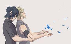 Noctis x prompto Final Fantasy Art, Fantasy Series, Prompto Argentum, Boy Squad, Anime Stories, Human Reference, Romantic Images, Noctis, Cartoon Games